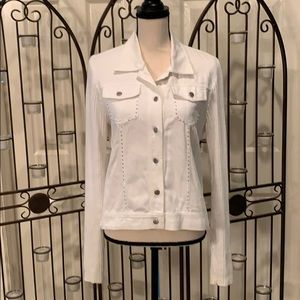 White denim jacket with knit sleeves